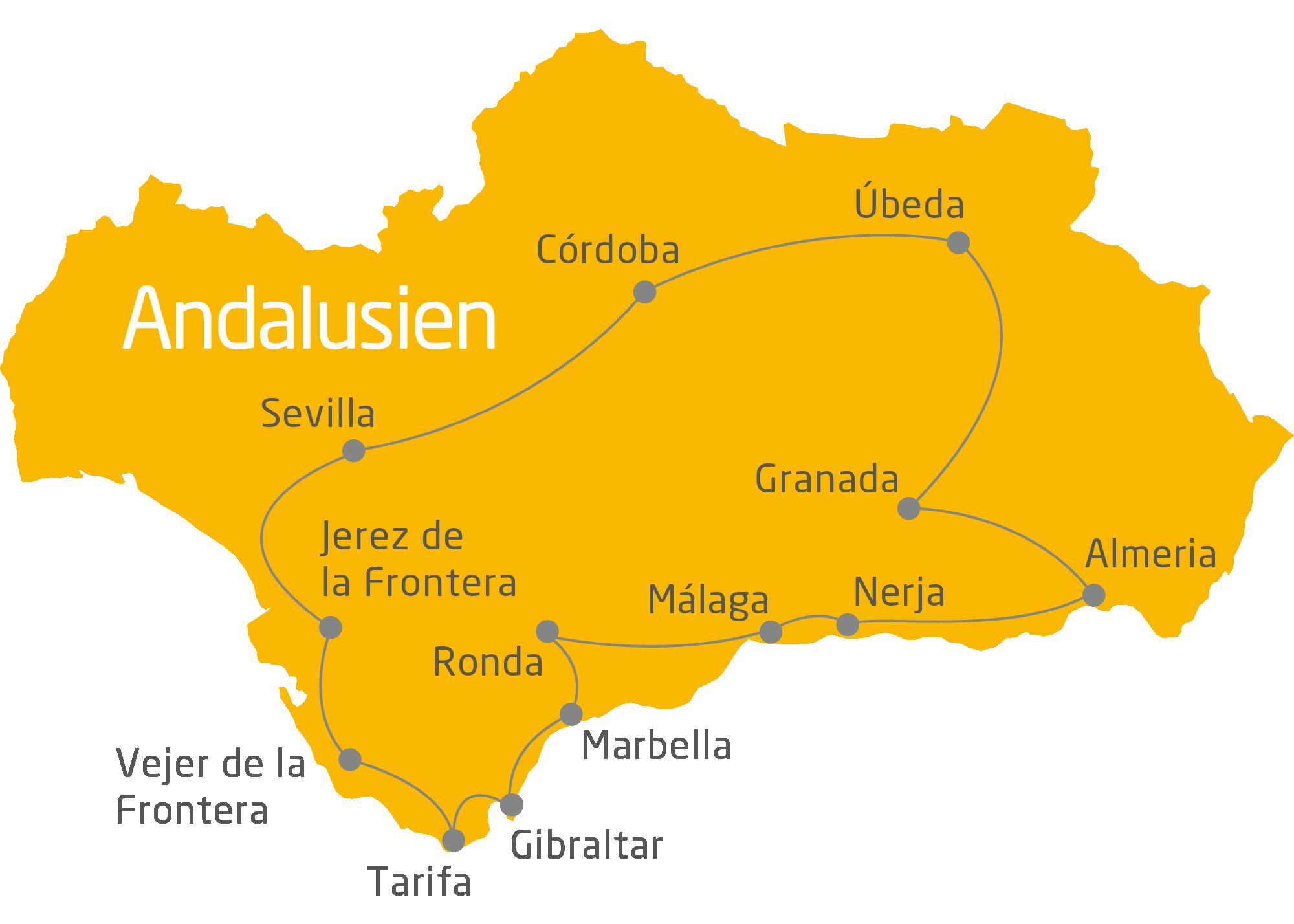 Andalusien Karte Flughäfen.Andalusien Rundreise 20 Tage Kulturdenkmäler Und Naturlandschaften