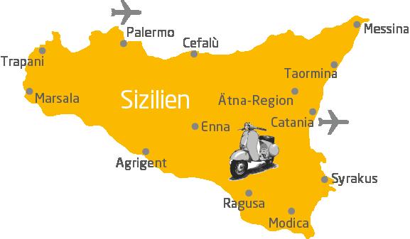 Sizilien Karte ätna.Individuelle Rundreisen Sizilien